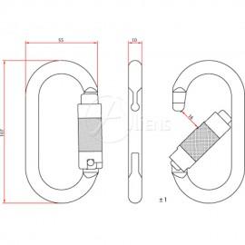 Stahlkarabiner Total Oval Trilock